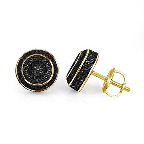 lilu Jewels Boucles d'oreilles clous Good Looking de coupe ronde Diamant Noir Argent Sterling 925 14k Gold Plated