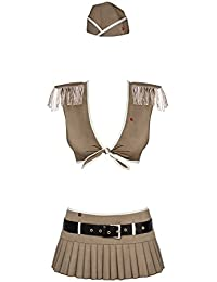 Obsessive 814-CST-4 Sexy Officer Set Role Play Women's Mini, Brown,S/M