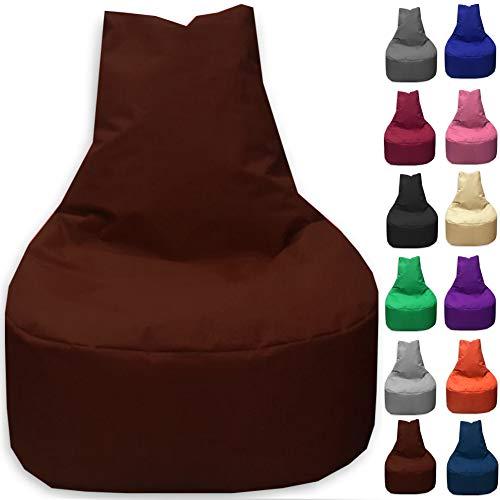 Sitzbag Sitzsack Sessel XL - XXL für Kinder und Erwachsene - In & Outdoor Sitzsäcke Kissen Sofa Hocker Sitzkissen Bodenkissen (XL - 68cm Durchmesser, Braun)