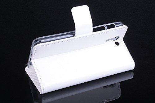 Baiwei Pu Leder Kunstleder Flip Cover Tasche Handyhülle Case für Asus PadFone S X Tasche Hülle Case Handytasche Handyhülle Etui (Weiß mit Halterung)