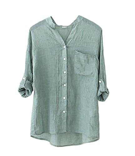 Camicia donna elegante manica lunga collo coreana single-breasted vintage basic tinta unita casual moda camicetta vintage camice blusa