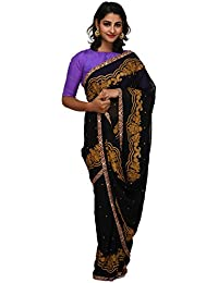 Unnati Silks Women Black Embroidered Pure Georgette Saree With Blouse from the Weavers of Punjab(UNM26170)