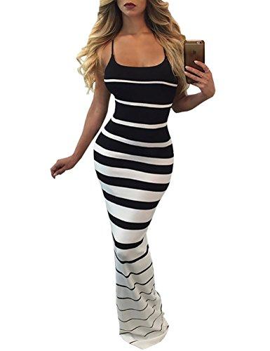 Boutiquefeel Damen Contrastfarbe Streifen Spaghetti Strap Slinky Maxi Dress Schwarz S (Schauen Slinky)