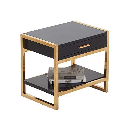 Gold-runde Glas-esstisch (SSRS Kreative Gold Nachttisch, Haushalt Nordischen Stil Sofa Tisch Seitenecke EIN Paar Eisen Kunst Dekorative Tisch Glas Tee Tisch (Color : Black))