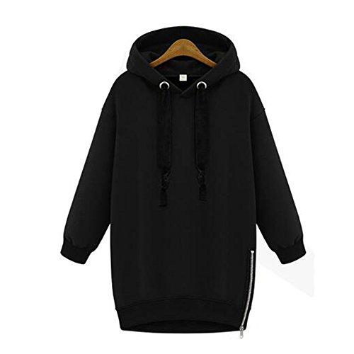 Femmes Encapuchonné Sweat-shirt Dames Adolescent Filles Décontractée Arrêtez-vous Transpiration Chemise Manteaux Haut 80Store Noir
