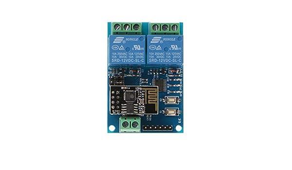 Fewxdsad WLAN-Relaismodul ESP8266 IOT APP Controller 2-Kanal f/ür Heimcomputer Mobole 12V