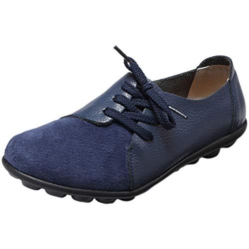 Mallimoda Damen Mokassin Casual Loafers Komfort Leder Flache Schnürschuhe Navy 39
