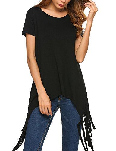 Meaneor Damen Unregelmäßiger Saum Kurzarm T-Shirt Dehnbar Beiden Ausgeschnitten Troddel Casual Loose Fit Bluse Schwarz