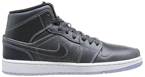 Nike Air Jordan 1 Mid Nouveau, Chaussures de running homme Multicolore (Wolf Grey/Black White)