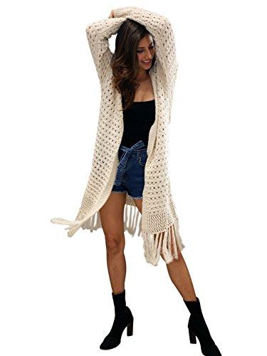 Simplee Apparel Damen Lang Cardigan Casual Langarm Strickjacke Strickmantel mit Taschen Fransen Elfenbein