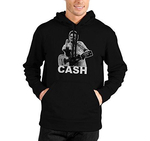 """Felpa Unisex """"Johnny Cash"""" - Felpa con cappuccio LaMAGLIERIA, XL, Nero"""