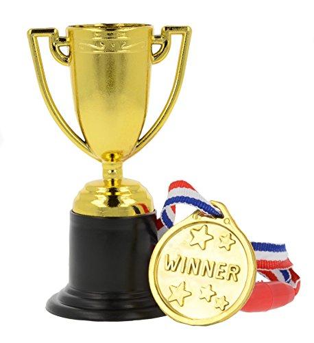 12x Medaglie di plastica e trofei - Riempitrici per borse da party / Premi in classe / giocattoli per bambini / premi