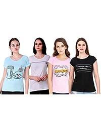 NIVIK Women's T-Shirt (Pack of 4) (CMB4-TSHIRT-PINK-BLACK-SKY-BLUE-GREY-M_Multicolored_Medium)