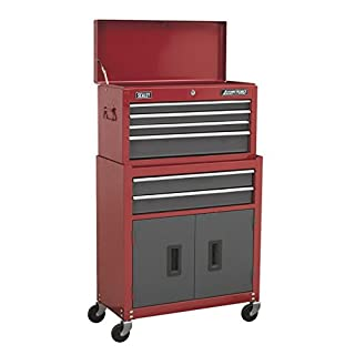 Sealey AP2200BB 6 Drawer Topchest & Rollcab Combination with Ball Bearing Slides - Red/Grey