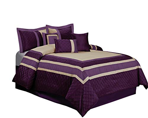 Queen-size-bett-bag-sets (HIG 7Stück Mya Embroidary und Patchwork Bed in a Bag Tröster Sets- Queen King Size King Violett)