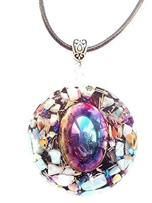 collier Pendentif en orgonite, hématite Arc-en-ciel, pierres, cristaux, énergie.Protection.