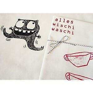 Wischi Waschi Monster, Bio Geschirrtuch. Mit Handsiebdruck.