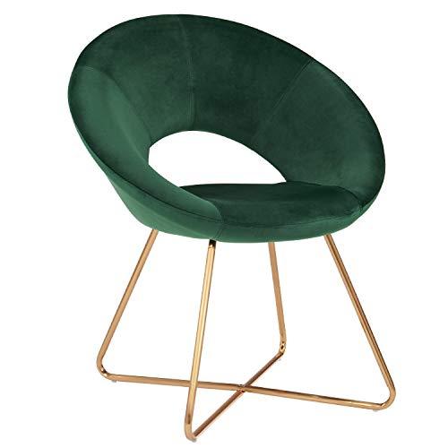 Duhome Silla de Comedor de Tela (Terciopelo) Verde diseño Retro Silla tapizada Vintage sillón con Patas de Metallo seleccion de Color 439D