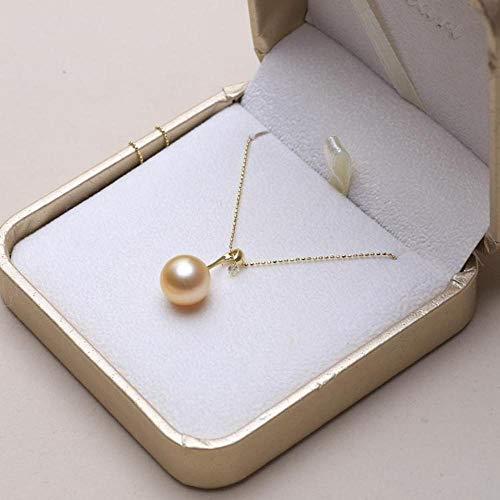 Lnyy Goldene Perle Anhänger Halskette South Sea Swan Goldene Perle Anhänger Halskette 18 K Gold Meerwasser Perle Halskette (Golden South Sea)