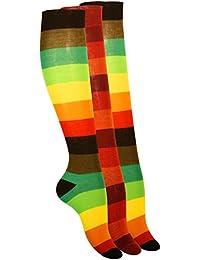 Lot de 3 paires de mi-bas - rayures larges style color-block - coton - femme - couleurs vives