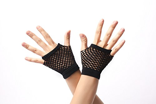 DRESS ME UP - RH-005-black Handschuhe Netzhandschuhe Schwarz fingerlos fingerfrei Netz kurz 80er Punk Rocker Wave Gothic (Halloween Emo Kostüme)