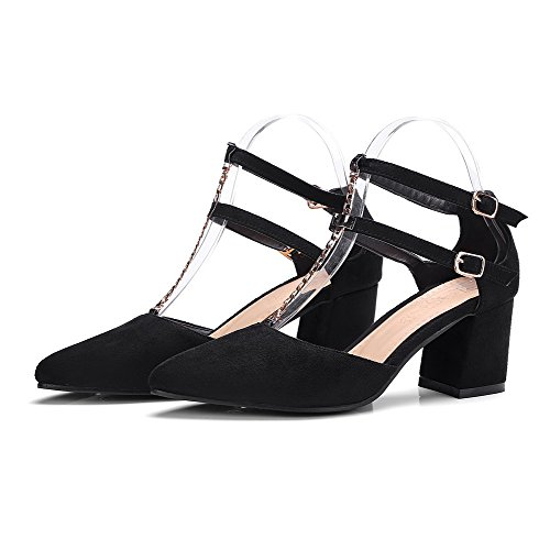 VogueZone009 Donna Puro Pelle di Mucca Tacco Medio Fibbia Scarpe A Punta Ballet-Flats Nero