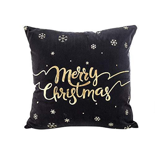 Qiusa Frohe Weihnachten Kissenbezug, Sofa Bettwäsche Cover Goldfolie Druck Kissenbezug Taille Wurf Bunte Kissenbezug Protektoren Kissenkern