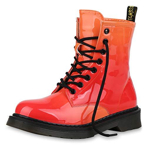 SCARPE VITA Damen Stiefeletten Worker Boots Outdoor Schuhe Lack Stiefel 176385 Rot Orange 36