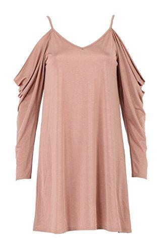 Damen Kalte Schulter lange drapieren Hülsen-Swing-Kleid EUR Größe 36-42 Rose Gold