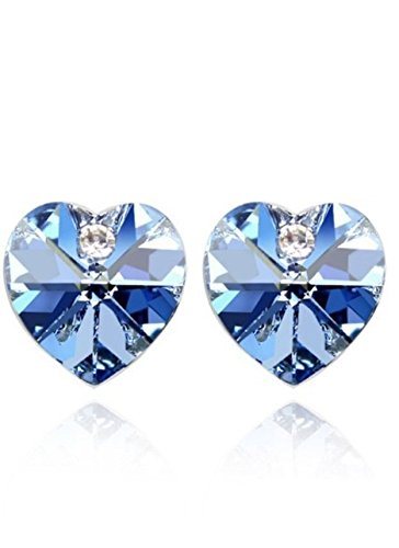 Bling Jewelry-Orecchini da donna placcati oro, con ciondolo a forma di cuore, con cristallo Swarovski Elements Earrings. bellissimo regalo.
