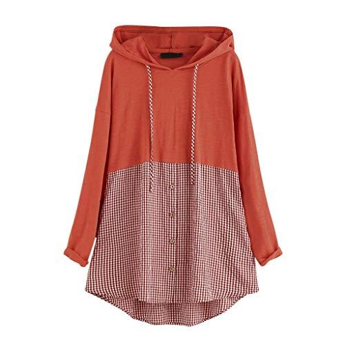 Xmiral Kapuzenpullover Plaid Patchwork Damen Langarm Knopf Sweatshirt Oberteile Übergröße T Shirt Patchwork Beiläufig Herbst Winter Shirt Pullover (Orange,5XL)