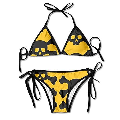 Pirate Skeleton Seamless Mode Women's Tie Side Bottom Bikini Suits Two Pieces Swimwear - Pirate Low Cut