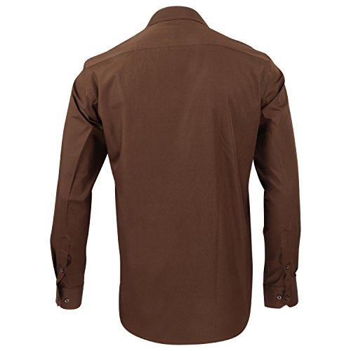 Captain Classic Fit Herren Hemden (in 24 Verschiedenen Farben) Langarm-Hemd 100% Baumwolle Braun