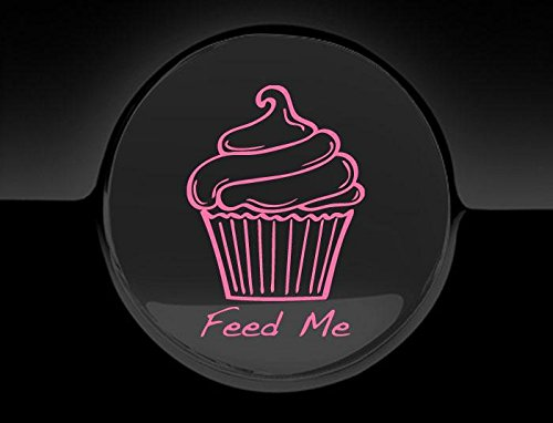 JCM Autoaufkleber/Tankdeckelaufkleber, Cupcake-Motiv, Aufschrift Feed Me Fuel, Rosa