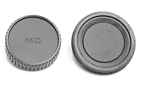 Set de 2 bouchons photo pour Minolta MD : bouchon arrière d'objectif + bouchon de boitier. Bouchons universels pour tous les boitiers reflex et objectifs Minolta MD