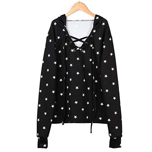 Qingsiy Camisetas Mujer Manga Corta/Tallas Grandes Sudadera con Capucha Star Girl para Mujer Sudadera con Capucha de Manga Larga Jerseys Tops Moda Tops Blusas para Mujer Fiesta Playa