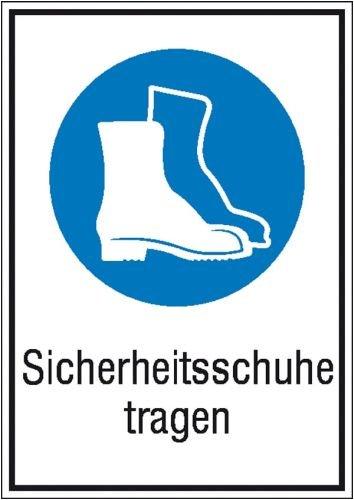 Aufkleber Sicherheitsschuhe tragen gem. ASR A1.3/ BGV A8, Folie selbstklebend 13,1 x 18,5 cm (Gebotsschhild, Kombischild) praxisbewährt, wetterfest