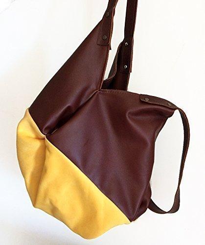 Braune Ledertasche und gelb woven Mikrofaser, limited edition (Mann Der Im Hut Gelben)
