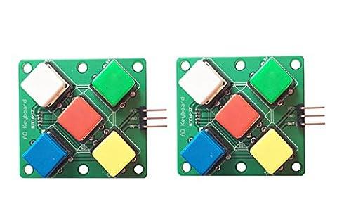 WINGONEER 2PCS colorful Square Cap Button Analog Button Module 5 five Keys