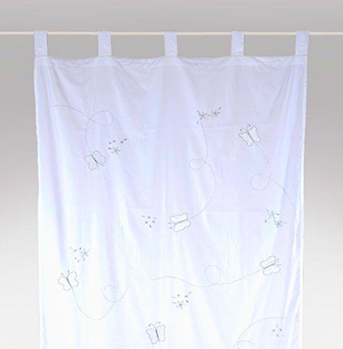 bambiente Kinderzimmer Vorhang Gardine 'Butterfly silver edition' 105x250cm mit Schlaufen Baumwolle weiss transparent 1 Schal