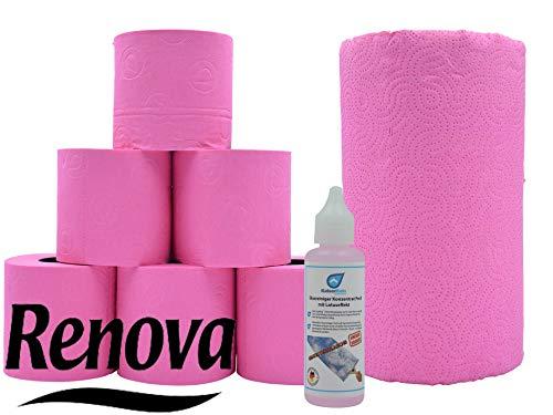 Farbiges fuchsia (pink ähnlich) Toilettenpapier & XXL Küchenrolle Renova Klopapier und Haushaltsrolle in fuchsia inkl. Glasreiniger 50ml