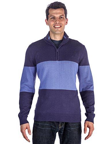Maglione Halfzip da Uomo in Puro Cotone - Color Block Blu- XL
