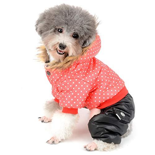 zunea Kleiner Hund Schneeanzug wasserdicht Polka Dot Overall Winter Fleece Linded Hoodie Coat Pet Puppy Kleidung winddicht four-leged Outfits Kapuzen Parka Mantel Jacke für Katzen Hunde Mädchen Jungen