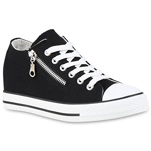 Bild von Stiefelparadies Damen Sneaker Wedges mit Keilabsatz Glitzer Metallic Flandell
