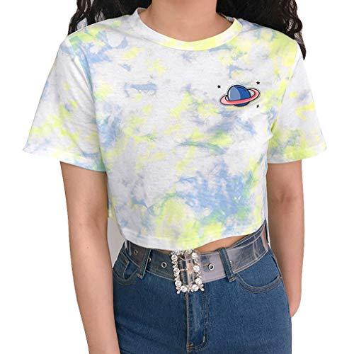 Siennaa Crop Tops Damen Sommer, Teenager Mädchen Tie Dye Star Druck Bauchfrei Oberteile Bunte Planet Dagger Sport Casual Blusen Shirt Hemd Frauen Kurzarm T-Shirts Tops Pullover Sale (Grün,M) -