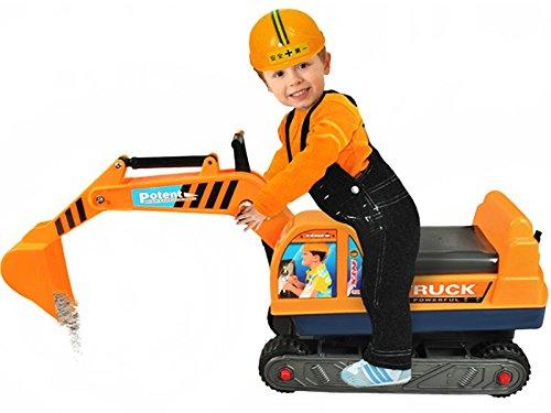 Sitzbagger Kinderbagger Rutscher + Helm Bagger Rutschbagger Sandbagger #2897