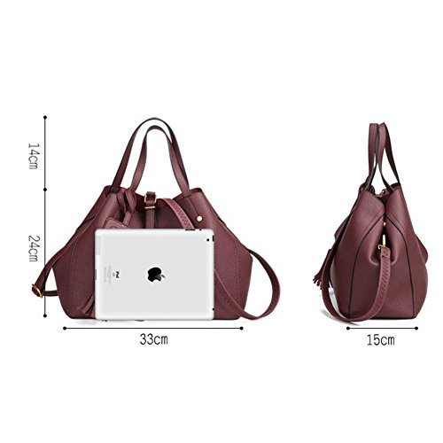 Handtaschen Damen PU Leder Umhängetasche Henkeltasche Taschen Hobo Taschen groß Mit Quasten Burgunderrot