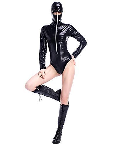 AWSAYS Lackleder Spiel Anzug Ninja KostüMe Maskiert Cosplay KostüM Nachtclub Bar Siamesische Performance Kleidung
