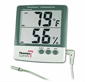 "Thomas 4184 ABS Plastic Traceable Jumbo Thermo-Hygrometer, 1-1/8"" High Display, 1 percent RH Resolution, +/-1 degree C Accuracy by Thomas"