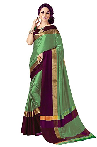 BEST COLLECTION Art Silk Saree With Blouse Piece (Siji_1Sea Green_Wine_Sea Green_Free Size)